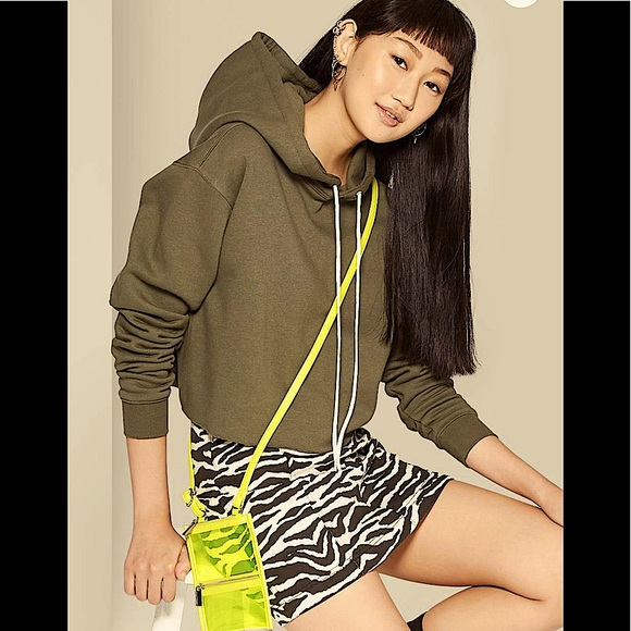 Wild Fable Women's cropped olive hoodie